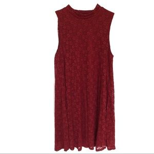 Garage | Maroon Floral Lace Dress Size S